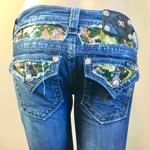 Miss Me Sequin Embellished Dark Wash Jeans 25 x 34